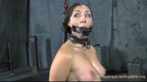 Big titted brunette, Jessica Ryan is masturbating in front of the camera, because she needs money