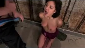 Kinky girl is tied up in a basement, because her secret is to satisfy horny boys