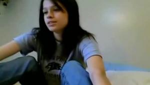 Skinny dark haired shy girl wanked