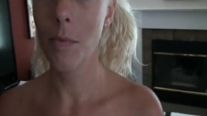 MILF takes a creamy facial in pigtails