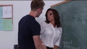 Sweet sexy teacher with glasses loves stuffing cocks to wave