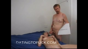 Nasty blonde bitch is getting a cock up her tight, pink ass, in a doggy style position